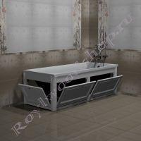 """Экран для ванны """"Руссильон PROVENCE откидной, белый""""  в открытом виде"""
