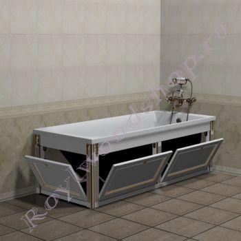 """Экран для ванны """"Руссильон PROVENCE откидной, белое золото"""""""