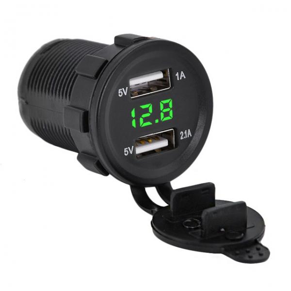 Зарядное устройство на 2 USB 5В/2.1А с вольтметром