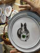 "Digital cross stitch pattern ""Bunny with clover""."
