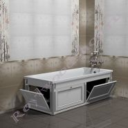 """Экран для ванны """"Руссильон PROVENCE откидной, белый с серебром"""""""