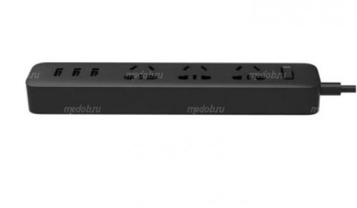 Удлинитель Xiaomi Mi Power Strip (3 розетки 3 USB) Black