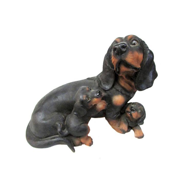 Фигура садовая Такса с щенками