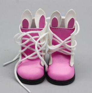 Обувь для куклы 6,5 см - сапожки с ушками на шнурках розовые