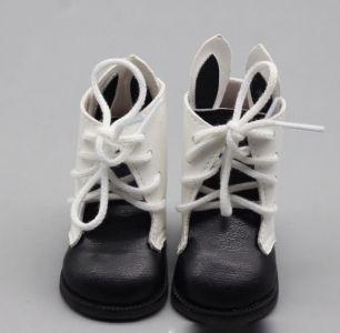 Обувь для куклы 6,5 см - сапожки с ушками на шнурках черные