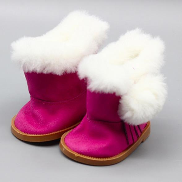 Обувь для кукол сапожки на замочке с мехом 7,5 см - розовые