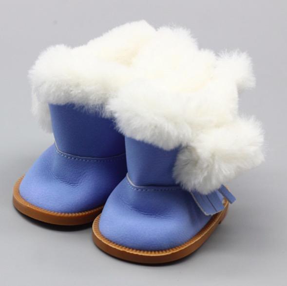 Обувь для кукол сапожки на замочке с мехом 7,5 см - голубые
