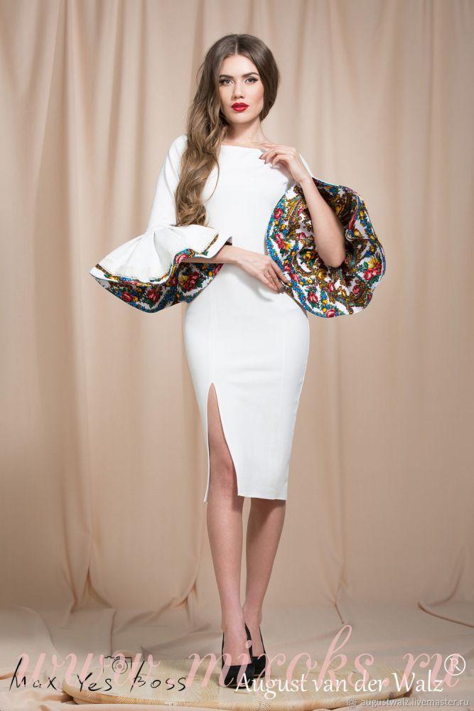 Платье белое в русском стиле