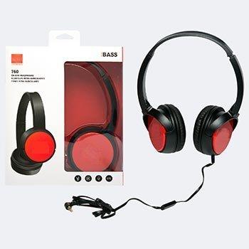 Проводные наушники Pure Bass T60 красные