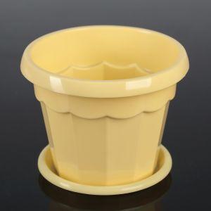 """Горшок для цветов с поддоном 0,7 л """"Эрика"""", цвет желтый"""
