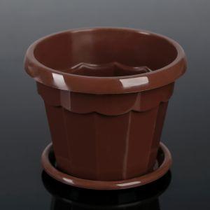 """Горшок для цветов с поддоном 0,7 л """"Эрика"""", цвет коричневый"""