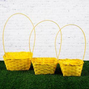 Набор корзин плетёных, бамбук, 3 шт., жёлтый цвет