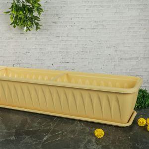 """Балконный ящик с поддоном 100 см """"Алиция"""", цвет белая глина"""