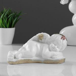"Фигура ""Ангел лежа на руках"" бело-золотой, 8,5х14х14см 5070298"