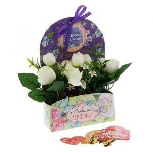 Цветы в картонном кашпо «Любимой доченьке», 12.5 ? 20 см