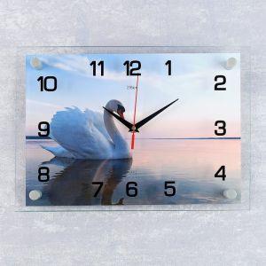 """Часы настенные, серия: Животный мир, """"Лебедь на пруду"""", 25х35  см, микс 1183247"""