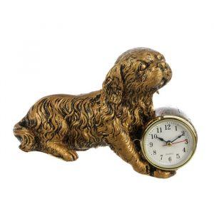"""Часы настольные """"Пёс"""", цвет потускневшее золото, 22х15 см 2770416"""