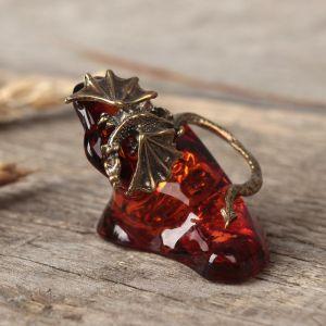 """Сувенир из латуни и янтаря """"Дракон"""" 3372655"""