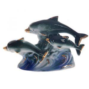 """Сувенир """"Игры дельфинов"""" зелёно-голубые 7,5х10,5х3 см"""
