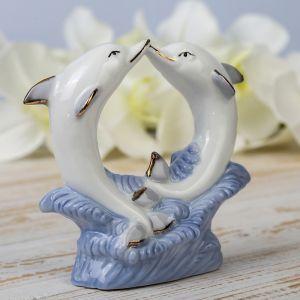 """Сувенир """"Танцующие дельфины в волнах"""" белые с голубым 12х11,5х4 см"""