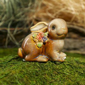 "Сувенир керамика ""Кролик в цветочек"" МИКС 6,5х8х4,3 см   3741053"