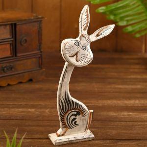 """Сувенир на подставке """"Заяц"""" дерево 14х4,5х30 см  белый  5054397"""