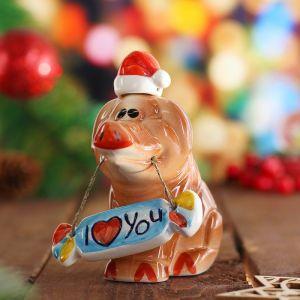 "Сувенир ""Хрюн новогодний I love you"" фарфор, 10 см 3782930"