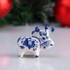 """Сувенир корова """"Еничка"""", 6,2 см, гжель 4950561"""