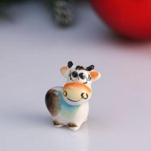 "Сувенир корова ""Рози"", 3,2 см, цветная гжель 4950582"