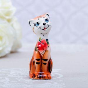 Сувенир «Кошка Милашка», рыжая, 8 см, гжель 4428788