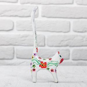 "Сувенир дерево ""Кошка белая с цветами"" 8х3х20,5 см 2630538"