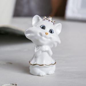 """Сувенир """"Белая кошечка в короне"""" стразы 7,5х5х4 см"""