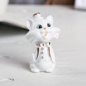 "Сувенир ""Белый котик в цилиндре"" стразы 8х5х4 см"