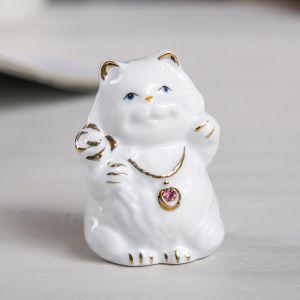 """Сувенир """"Белый кот-толстячок"""" стразы МИКС 6,5х4х4 см"""