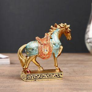 """Сувенир полистоун """"Конь золотой в цветной попоне"""" 10,5х10,5х3,4 см   4439200"""
