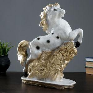 """Фигура """"Конь"""" 34х33см белый с золотом   4479181"""