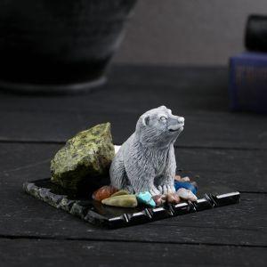 "Сувенир ""Медведь сидящий"", змеевик, мрамор 4010542"