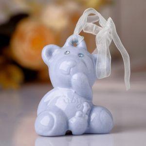 """Сувенир колокольчик """"Голубой мишка"""" стразы 6,5х5,5х4 см"""