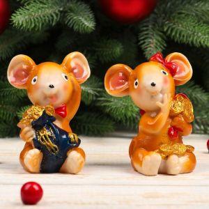 "Сувенир полистоун ""Мышка с бантом с мешком золота"" МИКС 8,5х7,2х5,7 см   4285300"