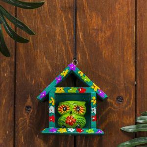 """Сувенир дерево """"Зелёная сова в домике"""" 11х5х11 см   3370639"""