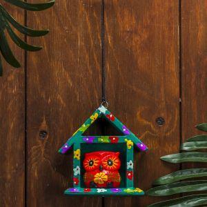 "Сувенир дерево ""Красная сова в домике"" 11х5х11 см   3370637"