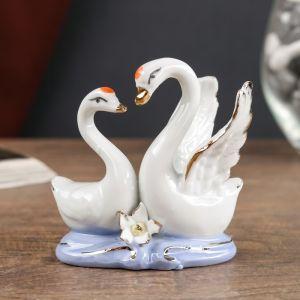 Сувенир керамика под фарфор 2 лебедя 8*7 см 254593