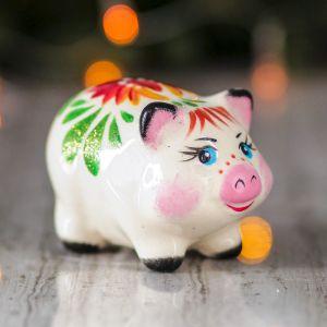 """Сувенир """"Свинка малышка"""", 6 см, цветы, керамика"""