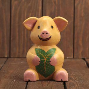 """Сувенир дерево """"Свинка с листочком"""" 9х7х14 см    3370259"""