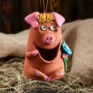 "Сувенир-колокольчик ""Свинка"", 11 см, микс, керамика"