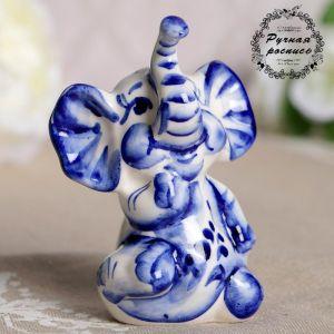 Сувенир «Слон Ксюша», фарфор, гжель, кобальт 3667009