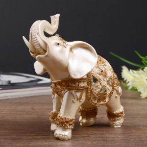 "Сувенир полистоун ""Белый слон в попоне с золотыми узорами"" 12,2х13х6,5 см   4439202"