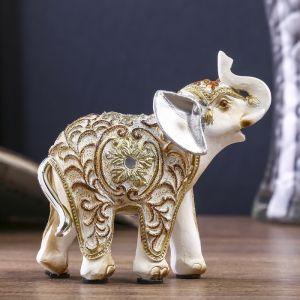 """Сувенир полистоун """"Белый слон с ажурным цветочным рисунком"""" 9х9,4х4 см   3676929"""