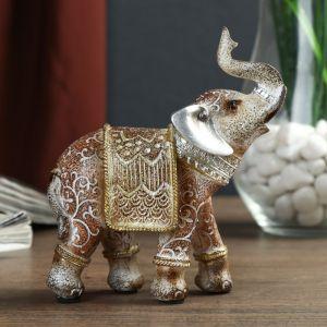"""Сувенир полистоун """"Песочный слон в арабской попоне с поднятым хоботом"""" 11,8х10,5х4,5 см 2467818"""