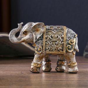 """Сувенир полистоун """"Серебристый слон в ажурной бирюзовой попоне с цветами"""" 9,2х4х7 см   3676923"""